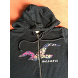 Hollister Polera Capucha Aplicaciones Negra Small Logo Mujer