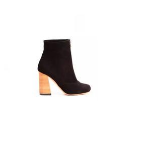 Natacha Zapato Mujer Botineta Alta Taco Descarne Negro #1224