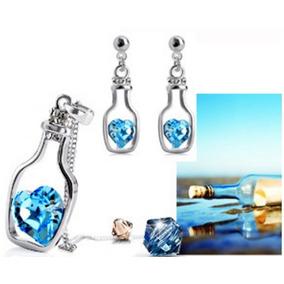 Set Collar Aretes Regalo Mujer Botella Amor Corazón Cristal