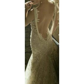 Vestido De Noiva Off White, Sereia, Em Renda Com Pérolas