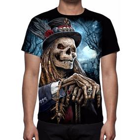 Camisa, Camiseta Caveira Rock Vodu - Frete Grátis
