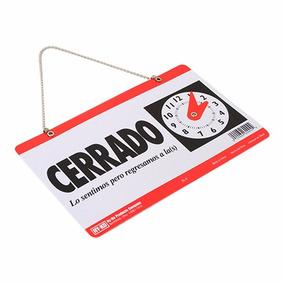 1x Letrero Abierto-cerrado Colgar Reloj Puerta Local Ventosa