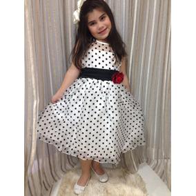 Vestido De Festa - Infantil - Bolinhas - Branco E Preto