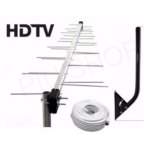 Kit Antena 28 Elementos Externa Digital+mastro+cabo-vhf Hdtv
