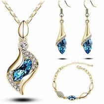 Elegante Set Swarovski: Oro Rosado 18k, Cristales Swaroski