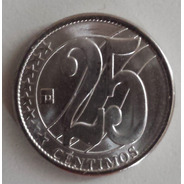Moneda Venezuela 25 Céntimos 2007 Relieve Plano Unc