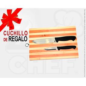 Tabla Cortar Bambú A 28x18 Cm Cuchillos Regalo