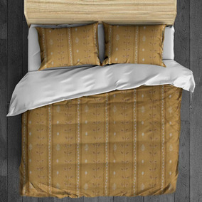 Juego Edredon Completo Hojas Beige King Size Bytex