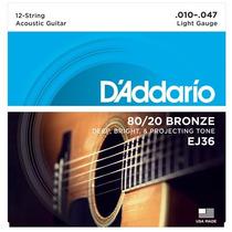 Encordoamento Para Violão 12 Cordas D'addario Ej36 Bronz