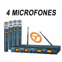 Microfone S/fio 4 Mics Staner Srw48q Ht48 Quadruplo