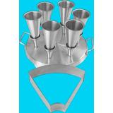 Kit Forma Pizza Cone 6 Cones C/ Forma Modeladora - Aluminio