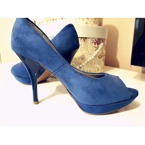 6315d39fb6 Scarpin Vizzano Azul Royal Feminino Peep Toe - Sapatos no Mercado ...