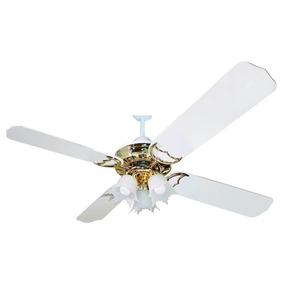 Ventiladores Mihura Vt 305 Techo Blanco Y Oro C/ Araña