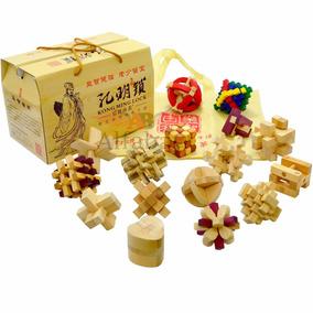Kit Dezesseis Desafios Bamboo Madeira Quebra Cabeça Puzzle