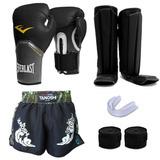 Kit Muay Thai - Luva + Caneleira + Bandagem + Bucal + Shorts