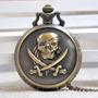 Relógio De Bolso Bronze (quartzo) - Piratas Do Caribe
