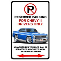 Chevrolet Chevy Ii Nova Muscle Car-toon Señal De Prohibid