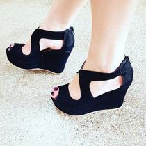 Sapatos Femininos Sandálias Anabela Atacado Grade Fechada