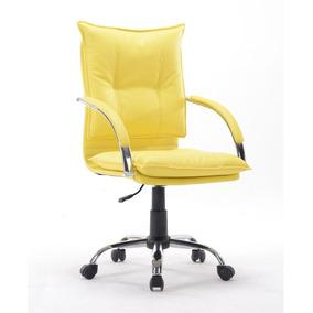 Cadeira Escritório Diretor Couro Pu Amarela Pelegrin Pel-280