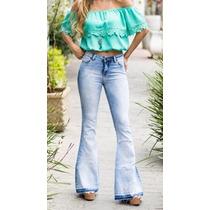 Calça Super Flare Jeans Com Recorte Revanche