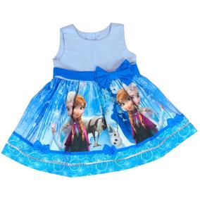 Vestido Infantil Frozen Gelo Elsa E Ana Tamanho 8 A 12 Anos
