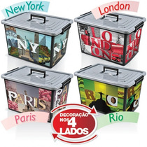 Caixa Mult Uso 50l Decorada London New York Paris Rio De Jan