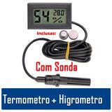 Termo-higrômetro Digital Umidade Chocadeira Sensor Externo