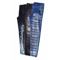 Kit 3 Calças Legging Jeans Infantil Estampado Criança Menina