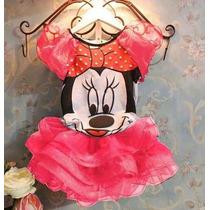 Vestido Fantasia Minnie Vermelha Ou Rosa - Pronta Entrega