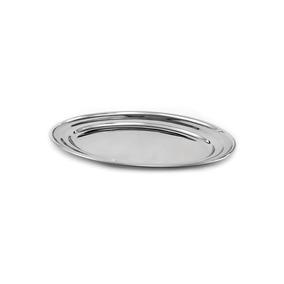 Travessa Oval Aço Inox Rasa 35 Cm - Bandeja Oval Porções