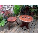 Mesa E Cadeira Rústicas, Madeira Maciça Antiga Restaurada