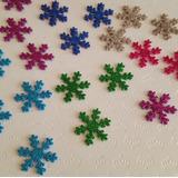 50 Flocos De Neve Eva Com Gliter Frozen Decoracao 5 Cm