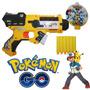 Pistola Pressão Pokemon Go Dispara Dardos Nerf + Tira A Alvo