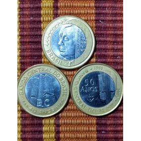 3 Moedas 1 Real Juscelino, 40, 50 Anos Banco Central Lfcosta