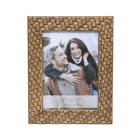 Porta-retrato Perfil Trançado - 10x15 Cm - Marrom Em Madeira