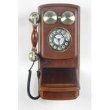 Original Teléfono Para Pared, Símil Antiguo, Madera/dorado.