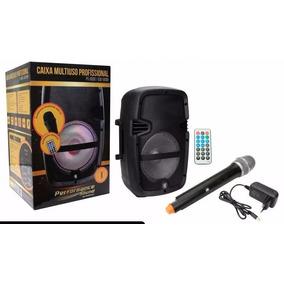 Caixa De Som Amplificada Com Microfone Sem Fio E Bateria