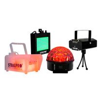Steelpro Kit Láser,cámara De Humo,estrobo Y Esfera Luz Disco