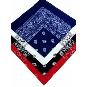 Kit 4 Bandana Preto Vermelha Branco Azul Escuro Ref 239