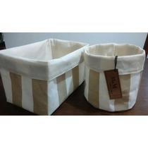 Cestos Tela Organizador Bebé Cosméticos Baño Set X2 Unidades