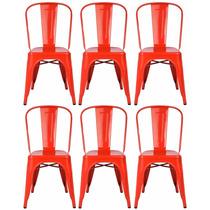 Kit 6 Cadeiras Design Tolix Metal C/ Mesa Café Grátis