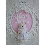 Enfeite Quadro Porta Maternidade Provençal Com Ursinho Rosa