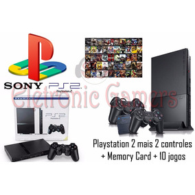Play2 Ps2 Novo Destravado +2 Controles + Memorycard+20 Jogos