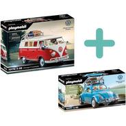 Kit Playmobil Volkswagen Edição Especial Kombi E Fusca Azul