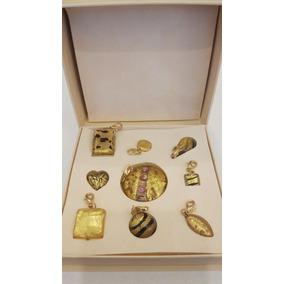 9 Dijes-oro 24k -cristal Murano- Color Oro