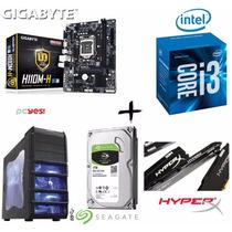 Kit Proc Ci3 7100 + H110m-h + Mem 8gb Hyperx + Hd 1tb + Gab