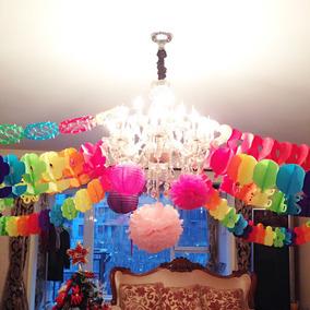 Guirlanda Decoração Para Festa Colorido De Papel 2metros