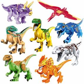 Kit 8 Peças Jurassic World Dinossauros Brinquedos
