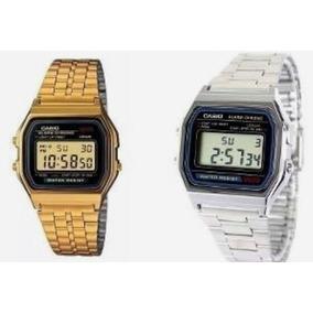 Kit 2 Relógios Casio Vintage Retro Dourado E Prata