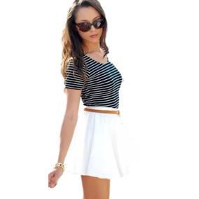 Saia Gode Rodada Moda Preto E Branca Moda Looks Para O Verão